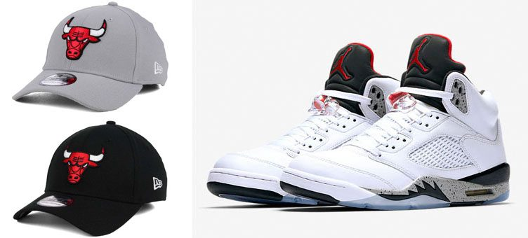 "Air Jordan 5 ""White Cement"" x Chicago Bulls New Era Team Classic 39THIRTY Caps"