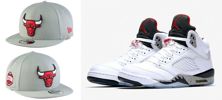 "Air Jordan 5 ""White Cement"" x Chicago Bulls New Era Gray Pop Snapback Cap"