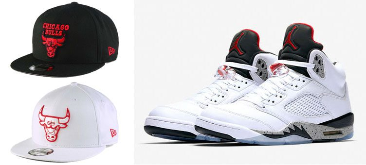 jordan-5-white-cement-new-era-bulls-snapback-hats