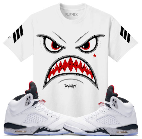 hot sale online 37a13 b5021 Jordan 5 White Cement Sneaker Match Tees | SneakerFits.com