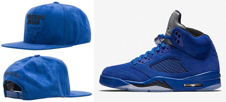 "Air Jordan 5 ""Blue Suede"" x Mitchell & Ness Chicago Bulls Retro 5 Blue Suede Snapback"
