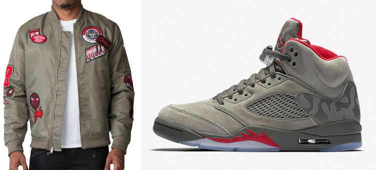 "13b2e3fa11b Air Jordan 5 ""Camo"" x UNK Chicago Bulls Nylon Patch Jacket"