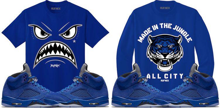 "918b3a1f346 Original RUFNEK Sneaker Shirts to Match the Air Jordan 5 ""Blue Suede"""