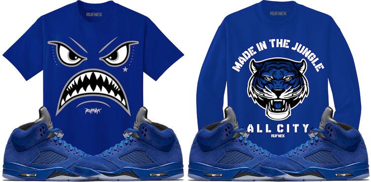 64584345d3ef74 Air Jordan 5 Blue Suede Sneaker Tee Shirts