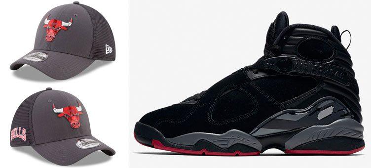 """Air Jordan 8 """"Cement"""" x Chicago Bulls New Era On-Court 39THIRTY Flex Hat 77039e39bb8"""