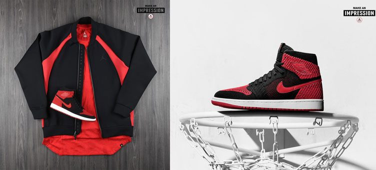 "Air Jordan 1 High Flyknit ""Banned"" x Jordan Sportswear Flight Tech Fleece Jacket"