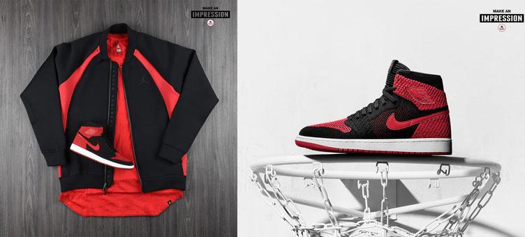 "0326b0a1a350af jordan-1-flyknit-banned-jacket-match. Fresh of the release of the Air Jordan  1 High Flyknit ""Banned"" sneakers comes the Jordan Sportswear Flight Tech ..."