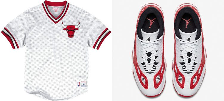 "Air Jordan 11 Low IE ""White & Gym Red"" x Mitchell & Ness Chicago Bulls Mesh Jerseys"
