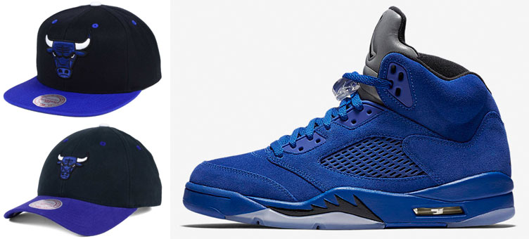 1c46884f121 Jordan 5 Blue Suede Bulls Snapback Hats