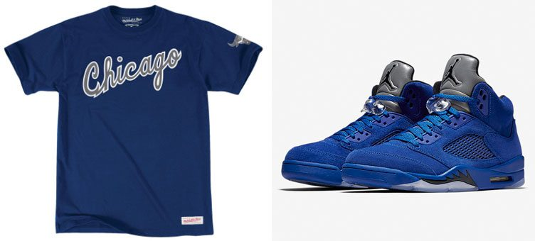 "Air Jordan 5 ""Blue Suede"" x Mitchell & Ness Chicago Bulls NBA T-Shirts"