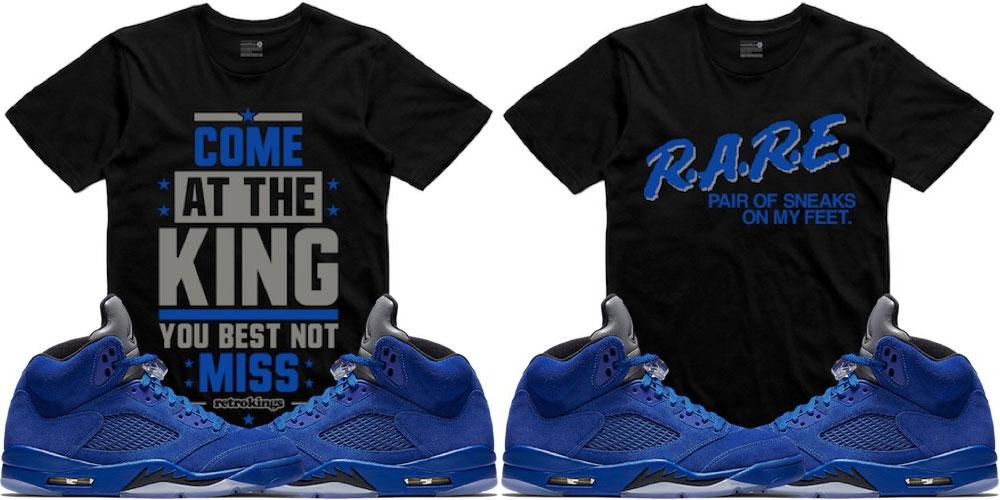 64e0f87eba50ce Jordan 5 Blue Suede Sneaker Match Shirts