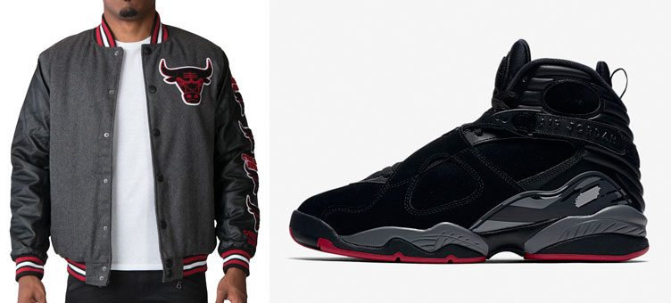 "Air Jordan 8 ""Cement"" x UNK Chicago Bulls Wool Varsity Jacket"