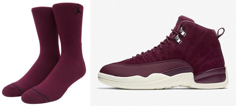 "Air Jordan 12 ""Bordeaux"" x Jordan Bordeaux Jumpman Crew Socks"