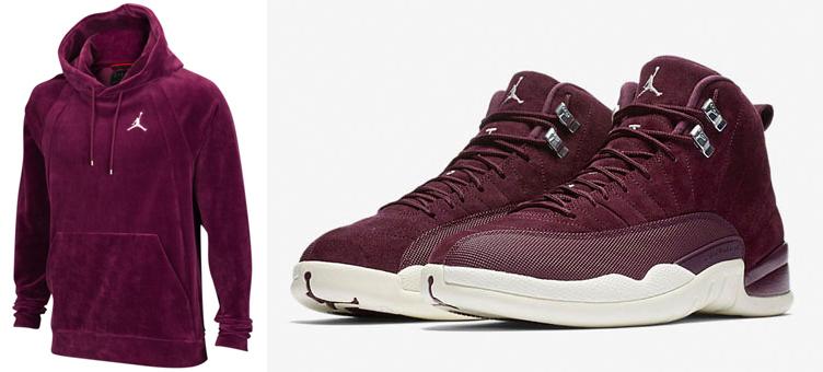 brand new 41cb3 d6aed air-jordan-12-bordeaux-velour-hoodie