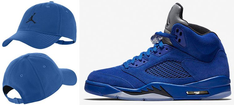 "Air Jordan 5 ""Blue Suede"" x Jordan Jumpman Strapback Cap (Royal/Black)"