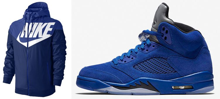 air-jordan-5-blue-suede-nike-jacket-match