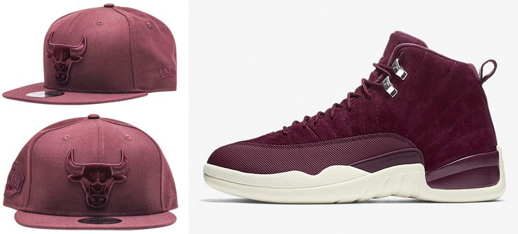 "Air Jordan 12 ""Bordeaux"" x New Era Chicago Bulls 23 Burgundy Snapback Cap"