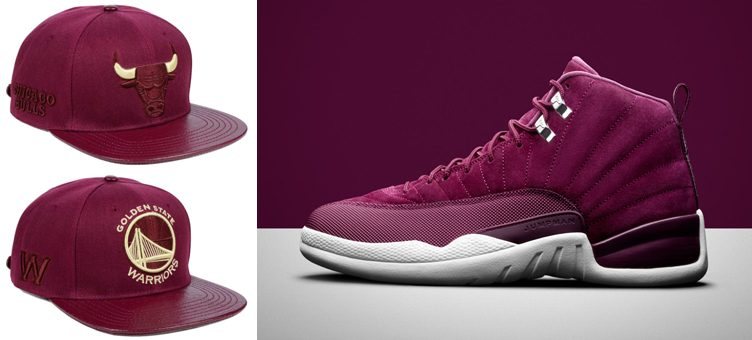 "Air Jordan 12 ""Bordeaux"" x Pro Standard NBA Wine Strapback Caps"
