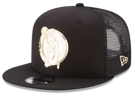 foamposite-metallic-gold-new-era-trucker-snapback-cap-celtics
