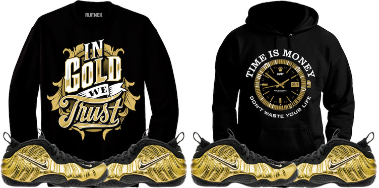 20929a0c8b6 Nike Foamposite Metallic Gold Sweat Shirt Match by Original RUFNEK ...