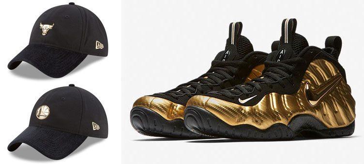 "new arrival 76156 eb0b0 Nike Air Foamposite Pro ""Metallic Gold"" x New Era NBA On-Court Adjustable  Caps"