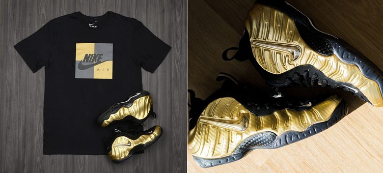 "25f23b7883e Nike Air Foamposite Pro ""Metallic Gold"" x Nike Air Black and Gold Box  T-Shirt"