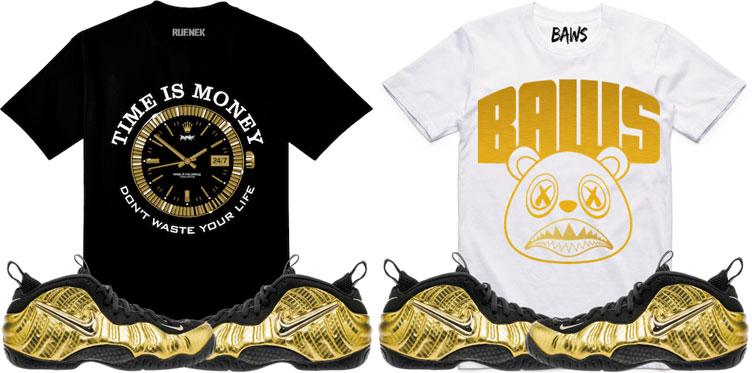 "62eee63953d gold-foamposite-sneaker-shirt-match. Keeping it fresh for the Nike Air  Foamposite Pro ""Metallic ..."