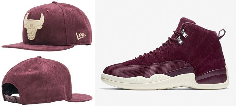"Air Jordan 12 ""Bordeaux"" x New Era Chicago Bulls Suede Snapback Cap"