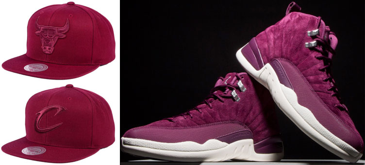 jordan-12-bordeaux-mitchell-ness-hats