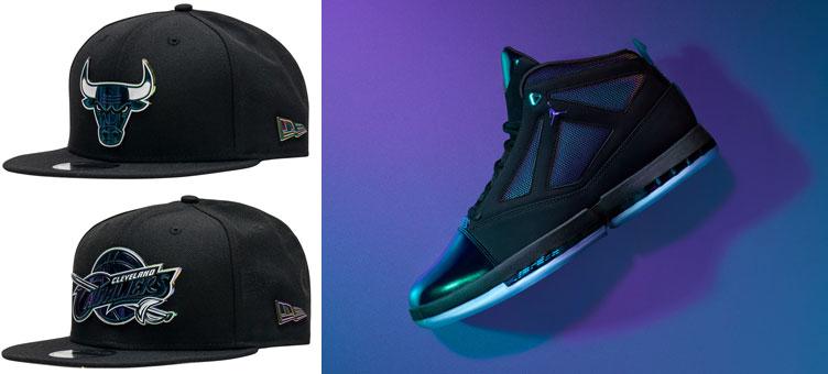 """5a5caff3438fe0 Air Jordan 16 """"CEO"""" x New Era Iridescent NBA Logo Snapback Caps"""