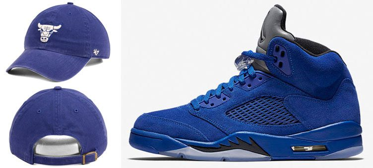 "Air Jordan 5 ""Blue Suede"" x Chicago Bulls '47 NBA Moss CLEAN UP Cap"