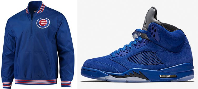jordan-5-blue-suede-chicago-cubs-jacket-match