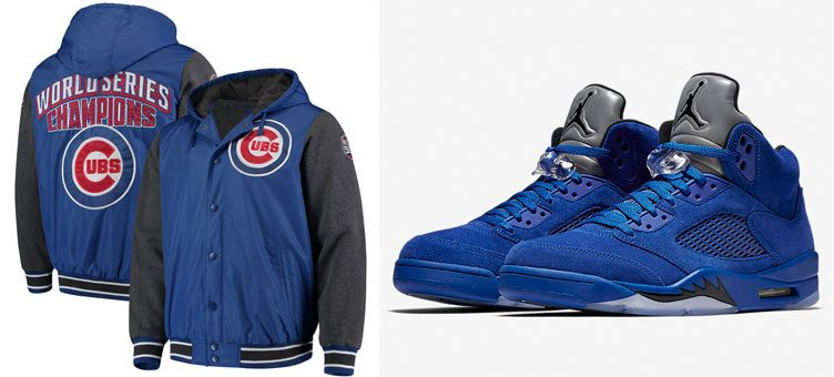 "Air Jordan 5 ""Blue Suede"" x Chicago Cubs G-III Sports by Carl Banks Jackets"