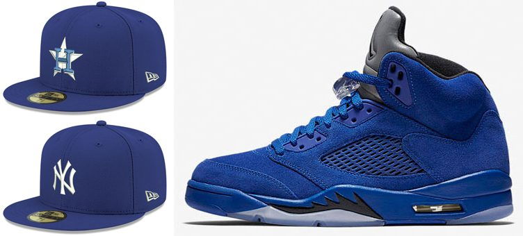 "Air Jordan 5 ""Blue Suede"" x New Era MLB Re-Dub 59FIFTY Fitted Caps"