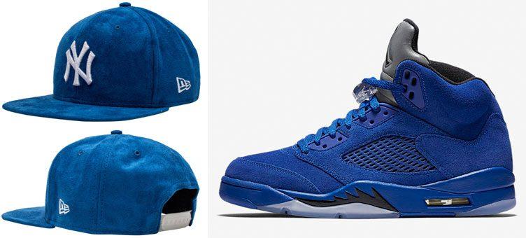jordan-5-blue-suede-yankees-cap