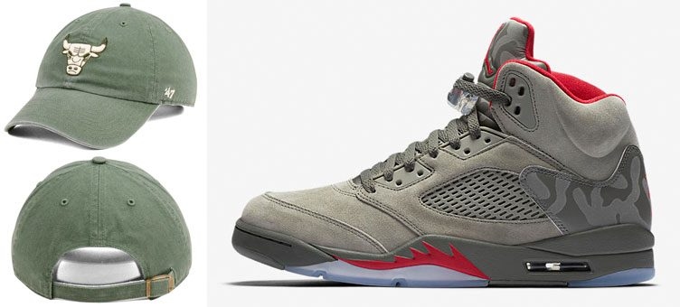 "Air Jordan 5 ""Camo"" x Chicago Bulls '47 NBA Moss CLEAN UP Cap"