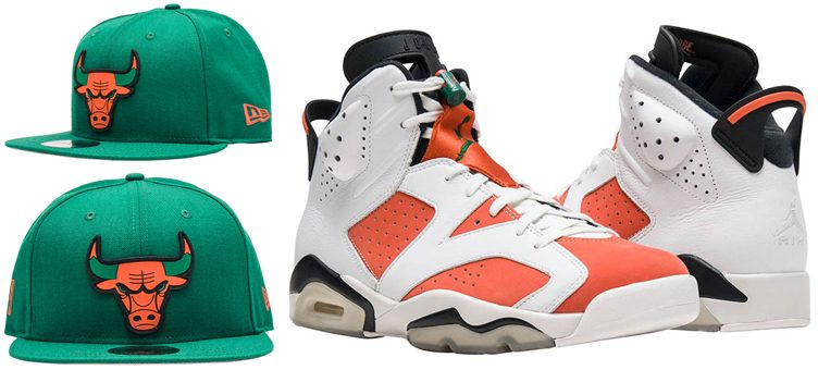 "Air Jordan 6 ""Gatorade"" x New Era Chicago Bulls Green & Orange 59FIFTY Snapback Hat"