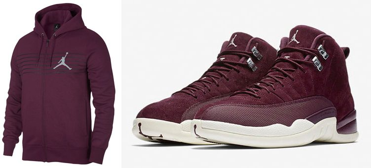 "Air Jordan 12 ""Bordeaux"" x Jordan Bordeaux Flight Fleece Full-Zip Hoodie"