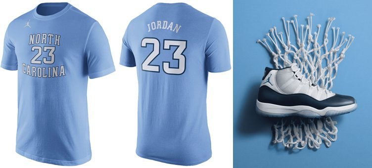 "Air Jordan 11 ""Win Like '82"" x Jordan UNC Tar Heels Michael Jordan Replica T-Shirt"