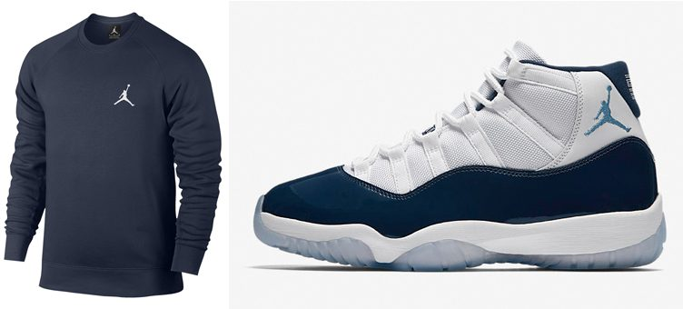 "Air Jordan 11 ""Win Like '82"" x Jordan Flight Fleece Crew Sweatshirt (Midnight Navy)"