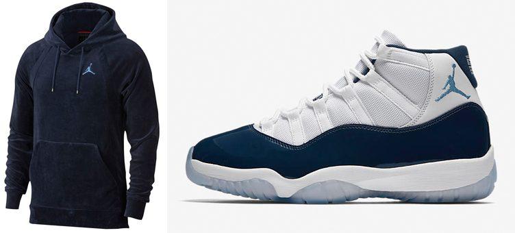 "Air Jordan 11 ""Win Like '82"" x Jordan Sportswear Velour Pullover Hoodie"