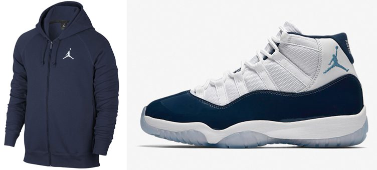 "Air Jordan 11 ""Win Like '82"" x Jordan Flight Fleece Full-Zip Hoodie (Midnight Navy)"