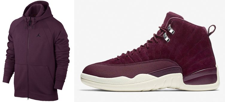 "Air Jordan 12 ""Bordeaux"" x Jordan Sportswear Bordeaux Wings Hoodies"