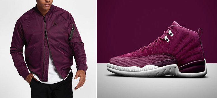 """c9bb3ab4e4c Air Jordan 12 """"Bordeaux"""" x Jordan Sportswear Wings MA-1 Jacket"""