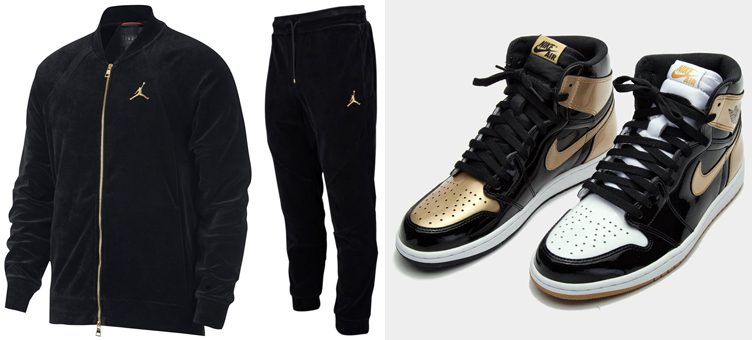 "Air Jordan 1 ""Top 3 Gold"" x Jordan Sportswear Velour Jacket and Pants"