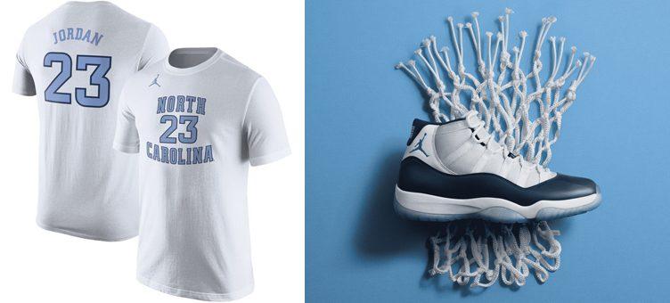 """Air Jordan 11 """"Win Like '82"""" x Michael Jordan UNC Tar Heels Replica T-Shirt"""