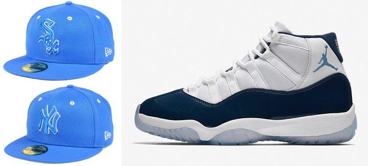 "Air Jordan 11 ""Win Like '82"" x New Era MLB Blue Pantone Collection 59FIFTY Caps"