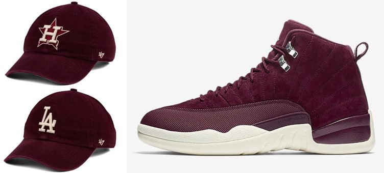"Air Jordan 12 ""Bordeaux"" x '47 MLB Dark Maroon CLEAN UP Strapback Dad Caps"