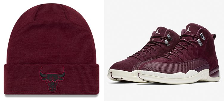 "Air Jordan 12 ""Bordeaux"" x New Era NBA Fall Time Cuff Knit Hats"