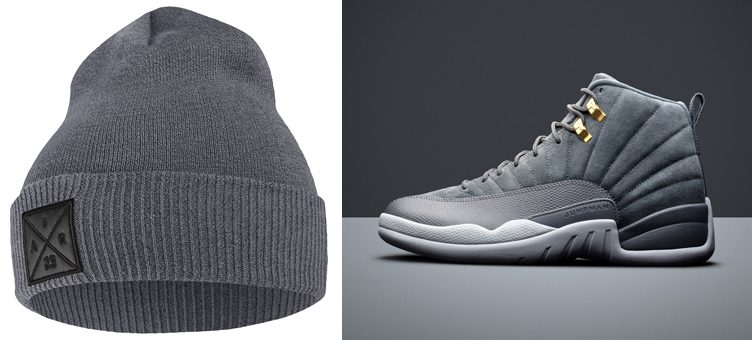 "Air Jordan 12 ""Dark Grey"" x Jordan P51 Embroidered Knit Hat Beanie"